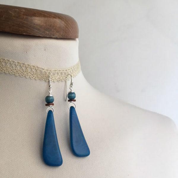 boucles d'oreilles langue ivoire végétal turquoise Rootsabaga création lyon
