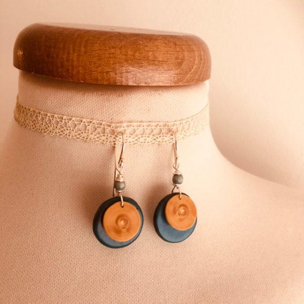 boucles d'oreilles bois buis ivoire végétal turquoise ronde Rootsabaga création lyon