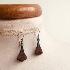 boucles d'oreilles pomme de pin petite petrole Rootsabaga bijou ethnique lyon