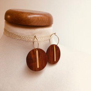 boucles d'oreilles créole dorée batonnet bois de prunier Rootsabaga bijoux uniques