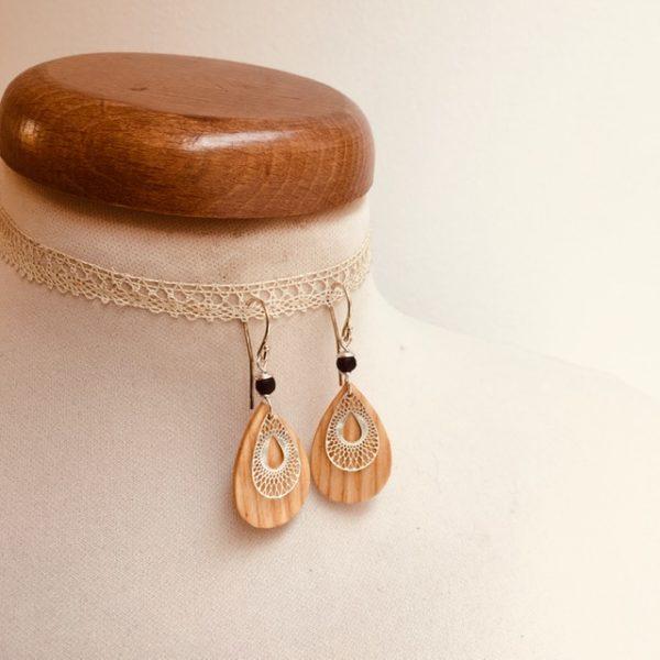 boucles d'oreille bois mini goutte stylisée argenté perle noir Rootsabaga bijoux bois