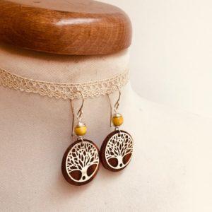 boucles d'oreilles bois arbre de vie argenté perle jaune Rootsabaga bijoux originaux