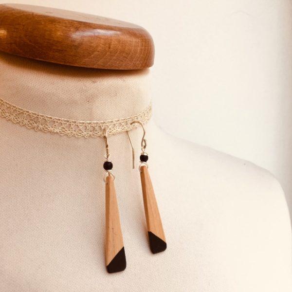 boucles d'oreilles bois lamelle peint noir Rootsabaga bijou nature