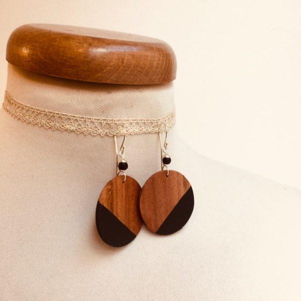boucles d'oreilles bois grand rond prunier noir Rootsabaga bijou fantaisie