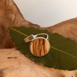 bague bois et argent 15mm bois d'olivier Rootsabaga bijouterie lyon