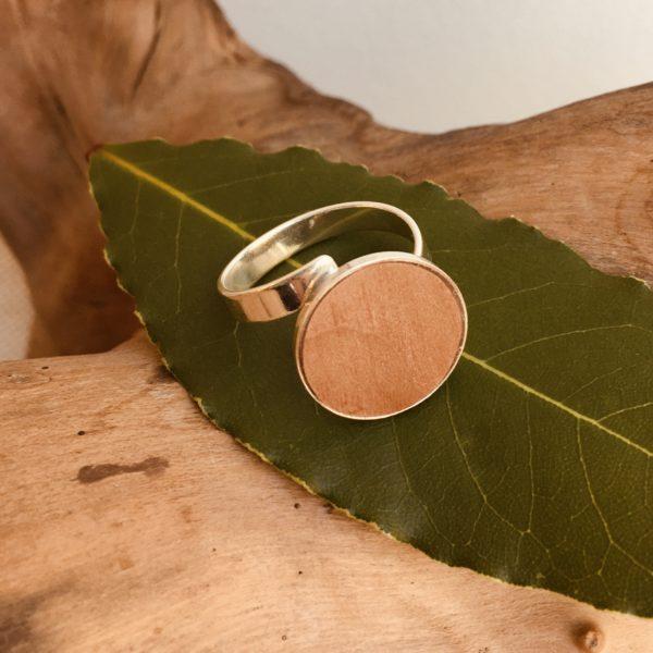 bague bois et argent 18mm bois de poirier Rootsabaga bijouterie lyon