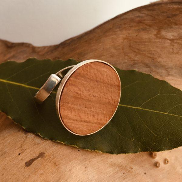 bague bois et argent 24mm bois de prunier Rootsabaga bijouterie lyon