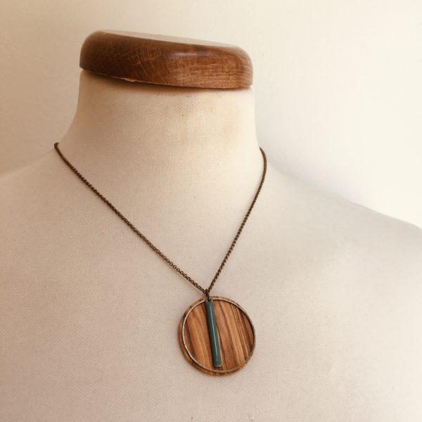 collier bois rond coloré bâtonnet chaine Olivier Turquoise Rootsabaga Création Artisanale
