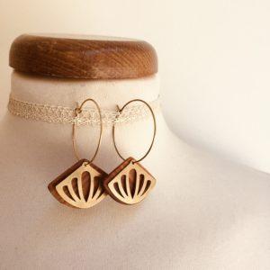 boucles d'oreilles créole dorée grand éventail ajouré Rootsabaga bijoux naturels chic