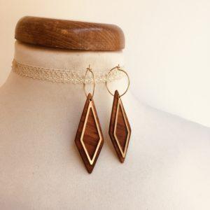 boucles d'oreilles créole dorée long losange évidé bois de prunier Rootsabaga bijoux naturels chic