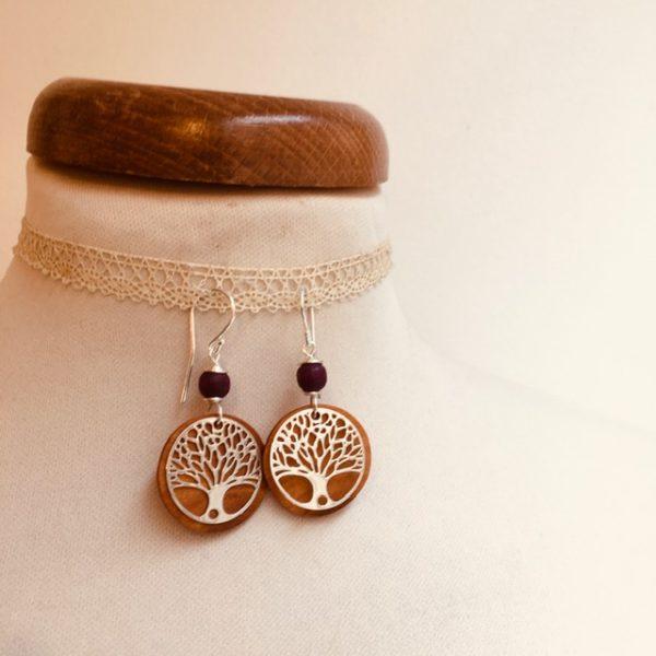 boucles d'oreilles bois argenté arbre de vie perle violet Rootsabaga bijoux naturels lyon
