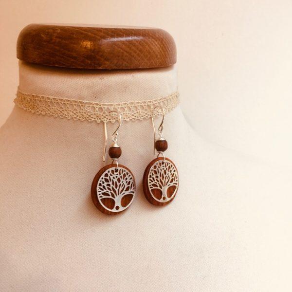 boucles d'oreilles bois argenté arbre de vie perle marron Rootsabaga bijoux naturels lyon