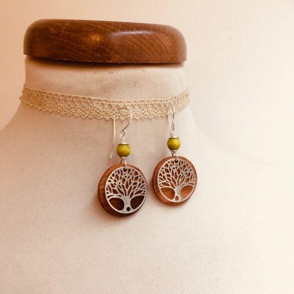 boucles d'oreilles bois argenté arbre de vie perle vert anis Rootsabaga bijoux naturels lyon