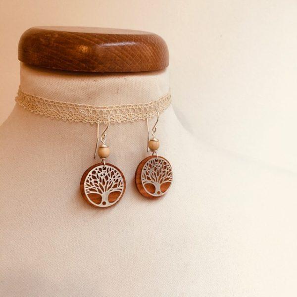 boucles d'oreilles bois argenté arbre de vie perle beige Rootsabaga bijoux naturels lyon
