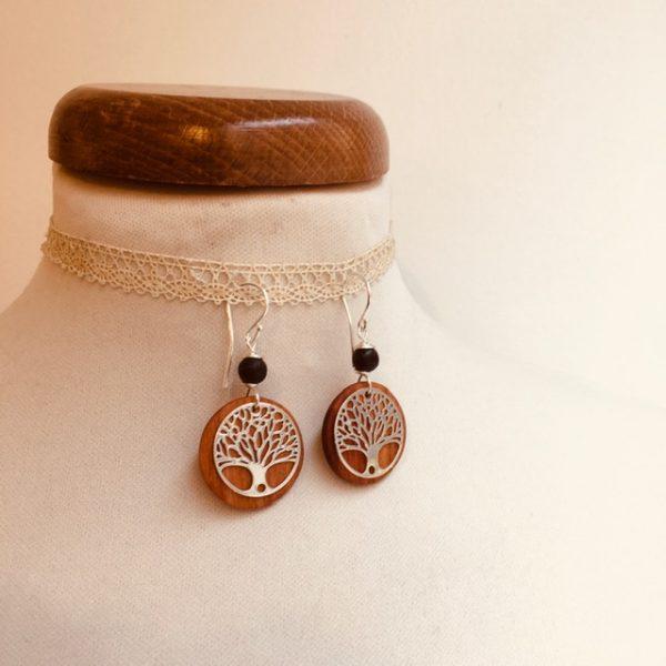 boucles d'oreilles bois argenté arbre de vie perle noir Rootsabaga bijoux naturels lyon