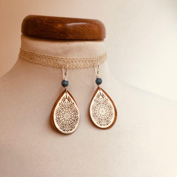 boucles d'oreilles goutte bois argenté perle bleu turquoise Rootsabaga bijoux ethniques lyon