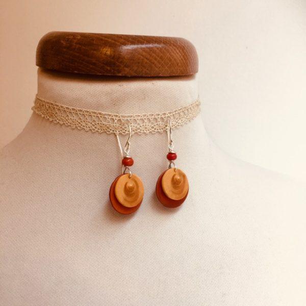 boucles d'oreilles buis et ivoire végétal orange Rootsabaga Bijoux fait main lyon