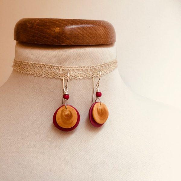boucles d'oreilles buis et ivoire végétal rose Rootsabaga Bijoux fait main lyon