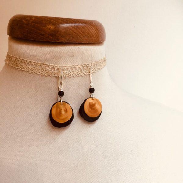 boucles d'oreilles buis et ivoire végétal noir Rootsabaga Bijoux fait main lyon