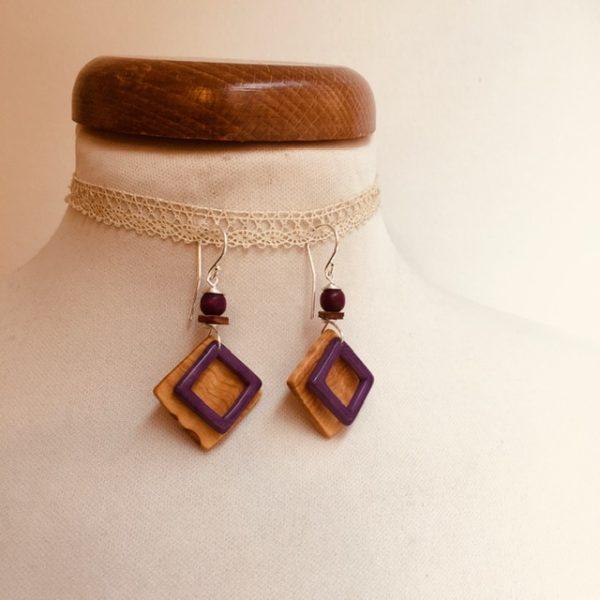 boucles d'oreilles carré bois d'olivier et ivoire végétal violet Rootsabaga bijoux fantaisie naturels