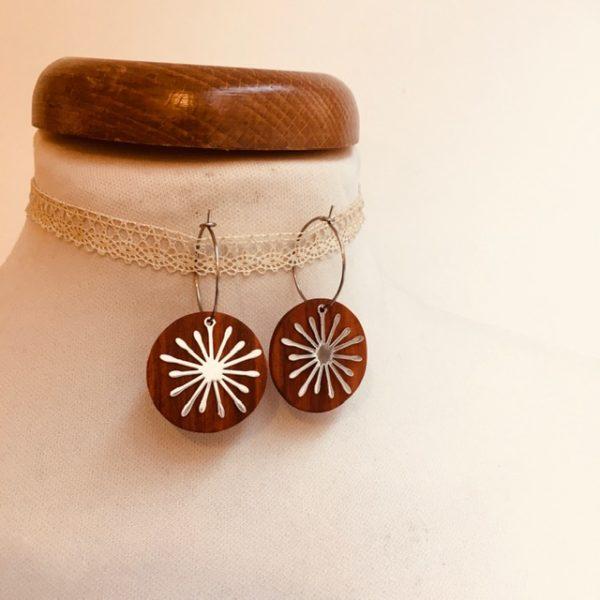 boucles d'oreilles créole argenté soleil bois de prunier Rootsabaga bijouterie fantaisie
