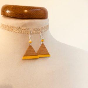 boucle d'oreille bois triangle peint jaune