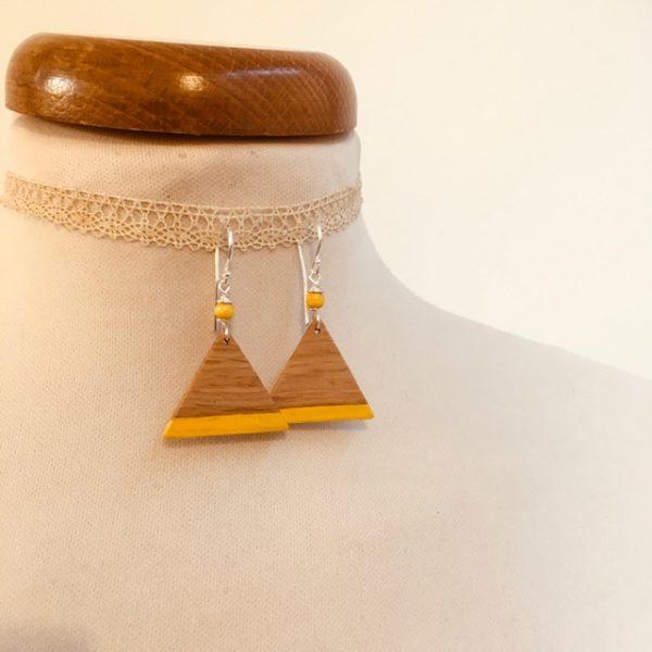 boucle d'oreille bois triangle peint jaune Rootsabaga bijoux fantaisie