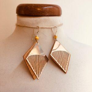 boucles d'oreilles grand losange chêne argent perle jaune Rootsabaga