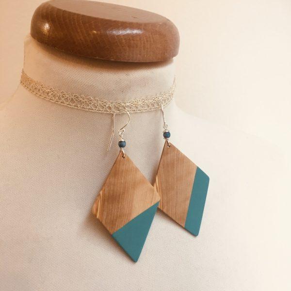 boucles d'oreilles grand losange peint désaccordé prunier bleu turquoise rootsabaga bijou naturel fait main a lyon